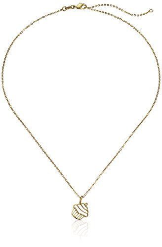 "Samantha Faye ""Modern Classic"" Small 14k Gold Plated Cupcake Pendant Necklace, 16''+2'' Extender"