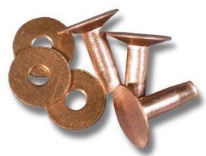 """#9 - 1"""" Solid Copper Rivets & Burrs 12 Sets Knifemaking"""