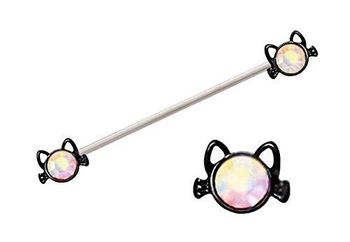 Sparkling Ab Aurora gem Black Cat Head ends Surgical Steel Industrial barbell bar ring Earring 14g Cat Eye Bar End
