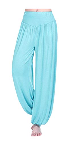 ARJOSA Women's Cotton Spandex Wide Leg Lounge Harem Yoga Pants (S, Sky Blue)