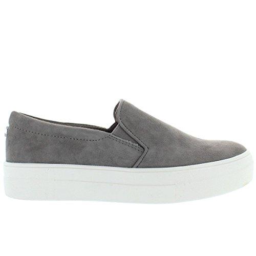 Steve Madden Women's Gills Fashion Sneaker, Grey Suede, 8 M US by Steve Madden
