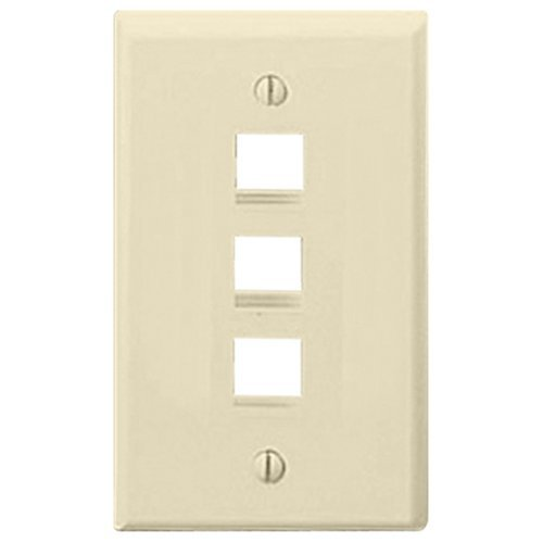 Leviton 41080-3AP QuickPort Flush Mount Wall Plate, 3-Port, Almond (Wall Mount Plate Flush Quickport)