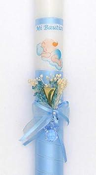 rosa VELAS PINSART Vela de bautizo flor y cinta POSIBILIDAD DE PERSONALIZAR MEDIDA 40x3 cm