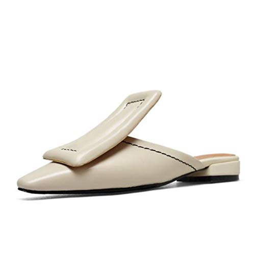 Women Flats Sandals Real Genuine Leather Shoes Summer Beach Casual Flip Flops Shoes,Beige,6 (Best Breast Pump Philippines)