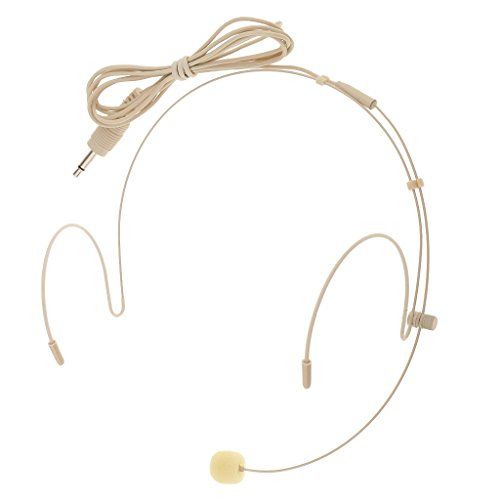 - kesoto Headworn Headset Microphone Audio Mic Beige, Cable 100cm/3.3ft - 3.5mm