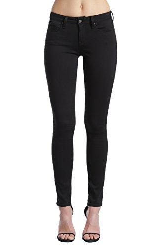 Deconstructed Skinny Leg Jean - Mavi Women's Alexa Mid-Rise Skinny Jeans, Jet Black, 34W X 32L