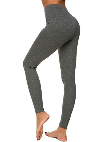 MSHING Womens Workout Yoga Leggings Pants High Waist Basic Stretchy Extra Soft Full Length Seamless Lined Leggings Deep Grey