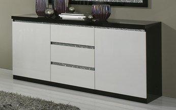 Kommode Sideboard Design In Schwarz Lackiert Weiss Strass Gina