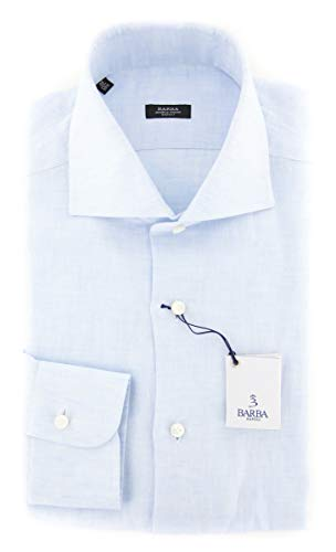Barba Napoli Blue Patterned Button Down Cutaway Collar Linen Slim Fit Dress Shirt, Size Small 15.5 Barba Napoli Linen Shirt