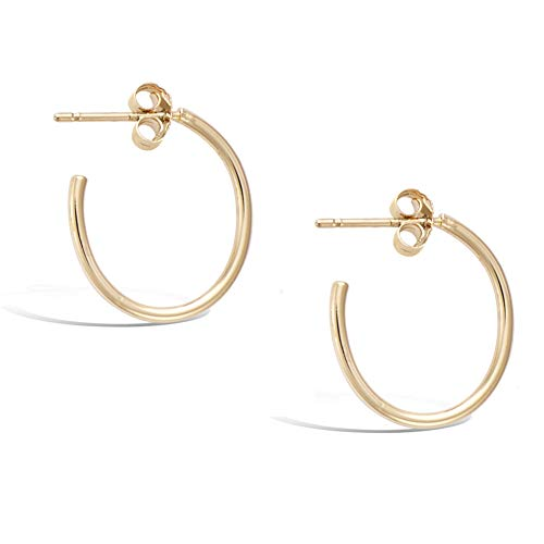 Agvana Gold Plated Sterling Silver Small Dainty Thin Tube Oval Half Open Post Hoop Earrings Jewelry Gift for Women Girls, Size: 20mm-15mm