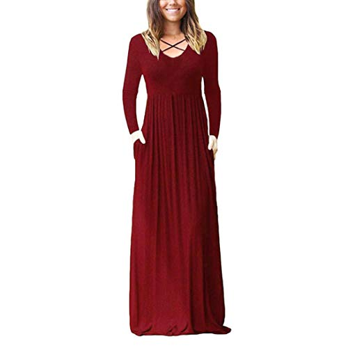 Creazrise Womens Long Sleeve Cross Front Loose Plain Maxi Dresses Casual Long Dresses with Pockets (Green,L)]()