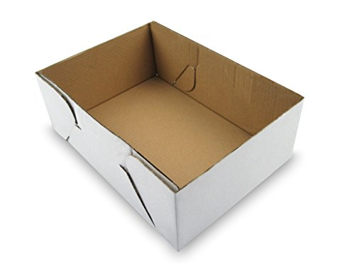 B-flute Corrugated Box (W PACKAGING WPCB50KWPB Plain Cake Box (Bottom Only) for Rectangular Cakes, Half-Sheet, B-Flute, White/Kraft (Pack of 50))