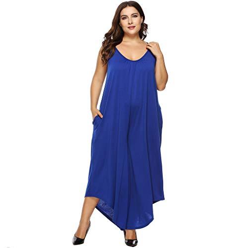 - Fheaven Women Plus Size Jumpsuit V-Neck Casual Solid Color Sling Irregular Baggy Wide Leg Jumpsuit Blue