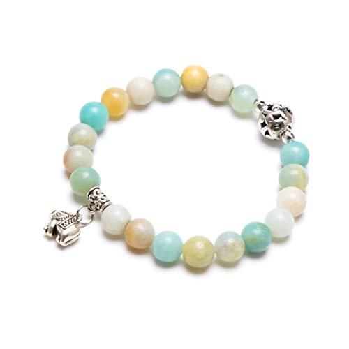 (Bivei Gemstone Bead Bracelet for Women Healing Crystal Stone Yoga Chakra Meditation Elephant Good Luck Charm Bracelet(Amazonite))
