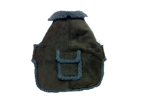 Suede Coat Faux Dog (CPC Faux Suede and Tipped Berber Coat/Jacket for Dogs, Medium, Chocolate)