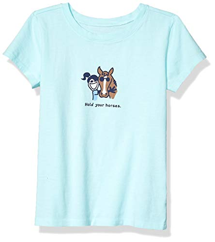 Life is Good Girls Vintage Graphic T-Shirts Collection,Bermuda Blue,Medium