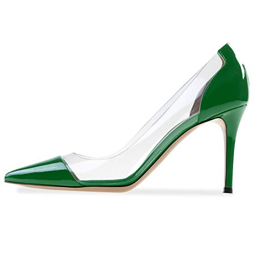 YODEKS Women's Green Patent Pumps Pointed Toe High Heels Shoes Cap-Toe Pumps US11.5