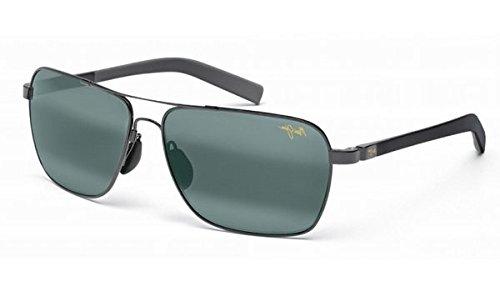 Maui Jim Freight Trains 326-02 Polarized Rectangular Aviator Sunglasses,Gloss Black Frame/Neutral Grey Lens,One Size