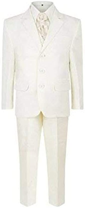 Boys Wedding Party Christening Baptism Prom Formal White 5 Piece Suit 1Y-15Y