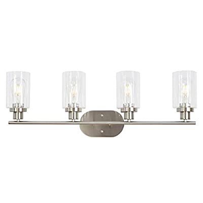 4 Light VINLUZ Wall Sconce Contemporary Stylish Bathroom Vanity Lighting Fixtures Brushed Nickel with Clear Glass - UNIQUE DESIGN:This 4 light farmhouse lighting featuring cylinder type clear class shades and a brushed nickel finish.The versatile design of the fixture can be mounted facing upward or downward. BULB:Use 4 E26-base bulbs,60W max(bulb not included).Working with any LED or edison bulb.Dimmable when used with dimmable bulbs and compatible dimmer switch. APPLICATION:Mount this classical fixture in several varying areas and decor.Perfect for the living room,bathroom,bedroom,powder room,dining room,office,foyer,stairway,hallway,study or bar. - bathroom-lights, bathroom-fixtures-hardware, bathroom - 31mDxcODrRL. SS400  -