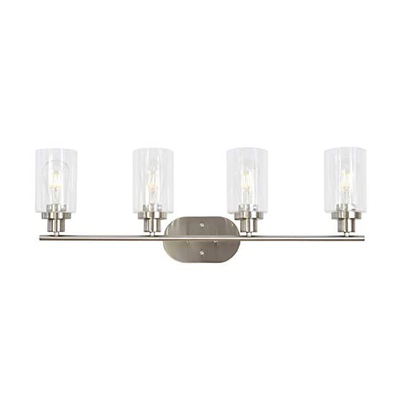 4 Light VINLUZ Wall Sconce Contemporary Stylish Bathroom Vanity Lighting Fixtures Brushed Nickel with Clear Glass - UNIQUE DESIGN:This 4 light farmhouse lighting featuring cylinder type clear class shades and a brushed nickel finish.The versatile design of the fixture can be mounted facing upward or downward. BULB:Use 4 E26-base bulbs,60W max(bulb not included).Working with any LED or edison bulb.Dimmable when used with dimmable bulbs and compatible dimmer switch. APPLICATION:Mount this classical fixture in several varying areas and decor.Perfect for the living room,bathroom,bedroom,powder room,dining room,office,foyer,stairway,hallway,study or bar. - bathroom-lights, bathroom-fixtures-hardware, bathroom - 31mDxcODrRL. SS570  -