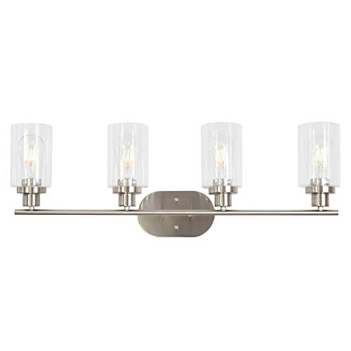 Contemporary Bathroom Sconces - 4 Light VINLUZ Wall Sconce Contemporary Stylish Bathroom Vanity Lighting Fixtures Brushed Nickel with Clear Glass