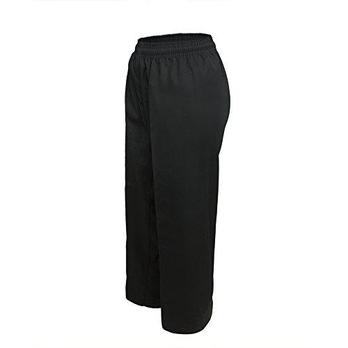 TOPTIE Middleweight Karate Student Elastic Waist Pants-Black-Size 2