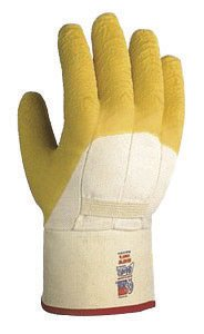 SHOWA Best® Glove 66NFW-10 Size 10 The Original Nitty Gritty® Cut Resistant Yellow Natural Rubber Palm Coated Work Gloves With White Cotton And Flannel Liner And Safety Cuff