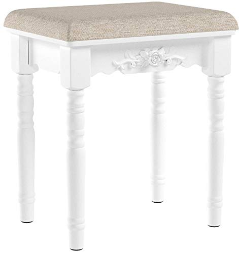SONGMICS Vanity Stool, Comfortable Dressing, Padded Cushioned Bench with Rubber Wood Legs, Capacity 286lb, Easy Assembly, White URDS06WT, Floral