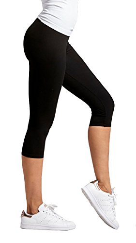 Premium Ultra Soft Womens High Waisted Capri Leggings - Cropped Length - Solid - Black - Plus Size (12-24)