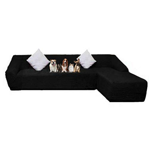(Obokidly Jacquard Anti-Wrinkle L Shaped Sectional Chaise Sofa Slipcovers;Dirstproof Left Right Facing Royal Sofa Cover Protector Baby Pet (Black, Large Sectional Chaise Sofa + Large 3-Seater Sofa))