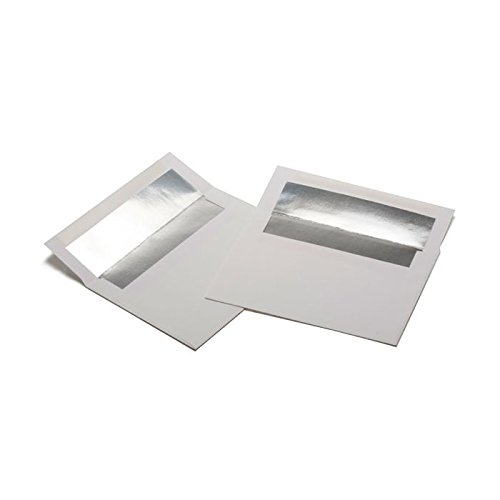 Square Foil Lined White Envelopes by ClearBags | Perfect for Invitations and Announcements for Weddings, Showers, Graduation | Heavy 70 Pound Paper | A7 7x5 | 50 Pack (Silver Foil Lined Envelopes)