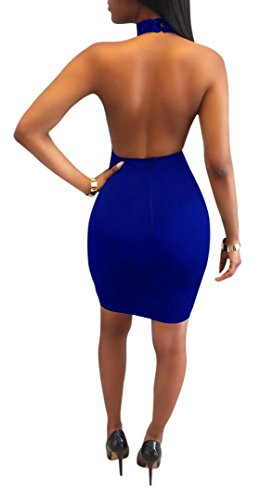 Floral Through Sequins Women's Sexy Dress Mini Bodycon Backless Royal Blue Club See Acelyn Halter RFxT0