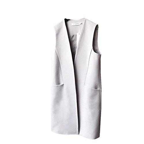 抽出飼い慣らすスリップFashion maker(F&M)ベスト レディース フォーマル ロング シンプル ビジネス スーツ ノースリーブ ポケット付き 通勤 ジレー トップス ゆったり 大きいサイズ 全2色