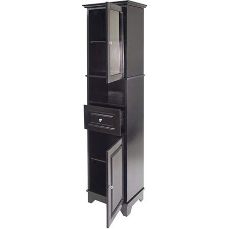 Slender Tall Cabinet with Glass Door on The Top Hutch, Spacious Enclosed Cabinet Space with One Adjustable Shelf, Open Storage in Mid Section, One Drawer, Elegant Black Finish + Expert Home Guide by LOVE US (Image #2)