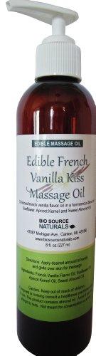 Французский Vanilla Поцелуй Съедобные массажное масло 8 эт. унция Насос с натуральной ванили, масло