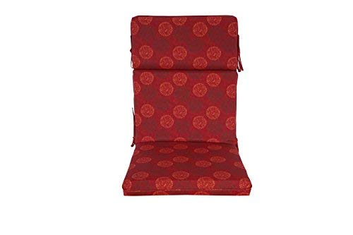 [SewKer] Indoor/Outdoor Patio Quick-Drying Top Quality High Back Chair Cushion, set of 2- Classic Red Medallion 3607