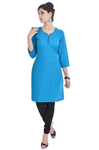 Vihaan Impex esclusivo Kurti top abbigliamento casual etnica cotone a mano designer indiano blu Medium (38pollice)