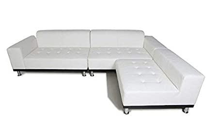 Amazon.com: Phantom Sectional Leather Modern Sofa White: Home & Kitchen