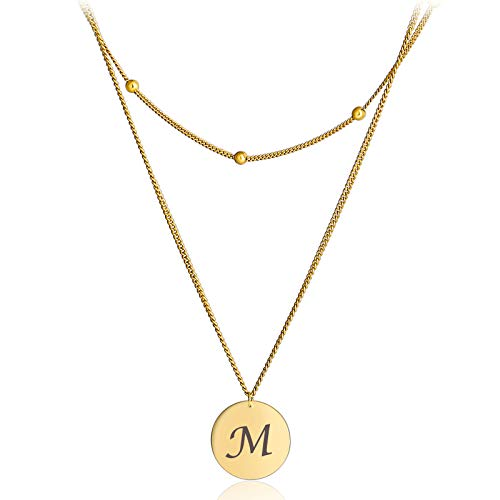 Aienid Gold Tone Alphabet Pendant Necklace Layered Necklace Sterling Silver 925 Chain