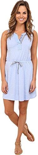 Mod-o-doc Women's Slub Jersey Split Henley Tank Dress Larkspur Dress LG (US 12-14) - Henley Tank Dress