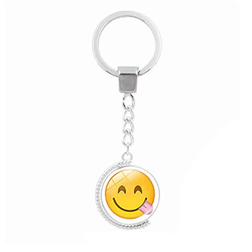 Fan-Ling Creative Funny Face Double-Sided Rotating Time Gemstone Metal Key Holder, Keychain,Key Ring, Key Chains,Cell Phone Chain,Glass Pendant Holder,Bag Pendant Car Accessory,Cute Ornaments (E)