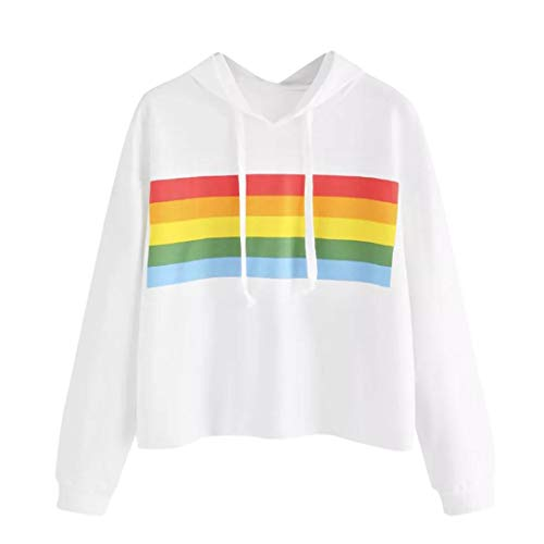 GOVOW Colorful Striped Shirt Women Casual Soft Loose Panel Hoodie Sweatshirt Tops Blouse -