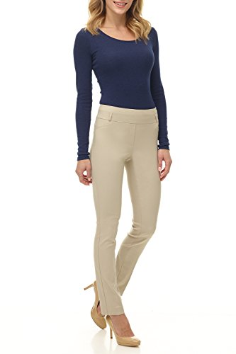 Rekucci Women's Ease in to Comfort Fit Stretch Slim Pant (12,Stone)