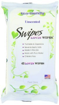 Swipes Lovin All Natural Intimate Feminine Wipes |Aloe & Vitamin E, Free of Chlorine & Dyes, pH-Balanced & Flushable | Unscented, 42 Count, 3 Pack