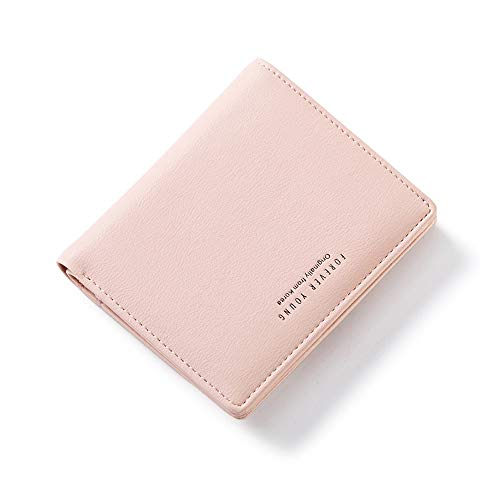 AnnabelZ Women Wallet Small Bifold Soft Leather Pocket Wallet Ladies Mini Short Purse(Pink)