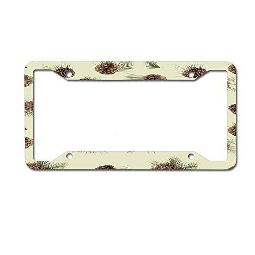 ASUIframeNJK Cute Pinecone License Plate Frame Designed Decorative Plate Auto Tag 12 x 6 inch-Made of Aluminum 4 Holes