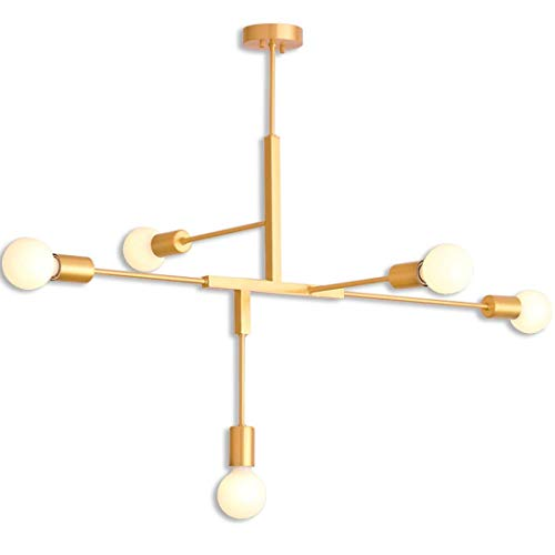 - Golden Pendant Lights, Post-Modern 5 Heads LED Hanging Chandelier, Creative Personality Dining Room Living Room Study Art Pendnat Lamp,E26