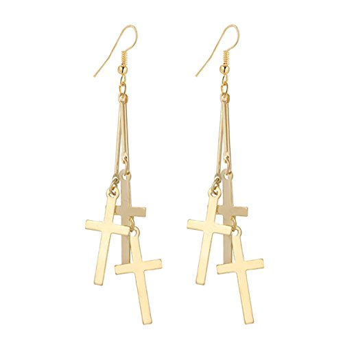 IDB Dangle Triple Cross Religious Hook Earrings - Available in Silver and Gold Tones (Gold Tone) (Gold Tone)