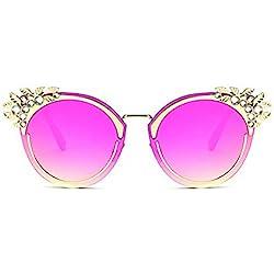 Rock shop Gafas de Sol de Cristal de Mujer de Lujo Diseño de Ojos de Gato Gafas de Sol de protección UV for Exteriores Gafas de Sol de conducción (Color : Red)